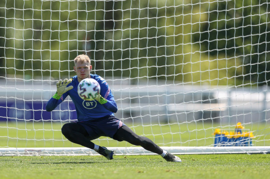 MIDDLESBROUGH, ENGLAND - JUNE 05: Aaron Ramsdale of England dives to make a save during the England training session on June 05, 2021 in Middlesbrough, England. (Photo by Eddie Keogh - The FA/The FA via Getty Images)