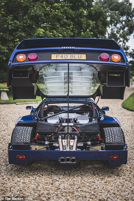 The car has just 16,000 miles on the clock and was sold with the personalised plate, 'F40 BLU'