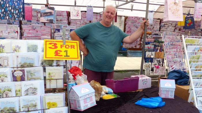 'Cash is becominga dirty word now,' complains market trader Jeff, who runs a stall selling greetings cards. He only takes cash as most of his wares cost £1 or less.
