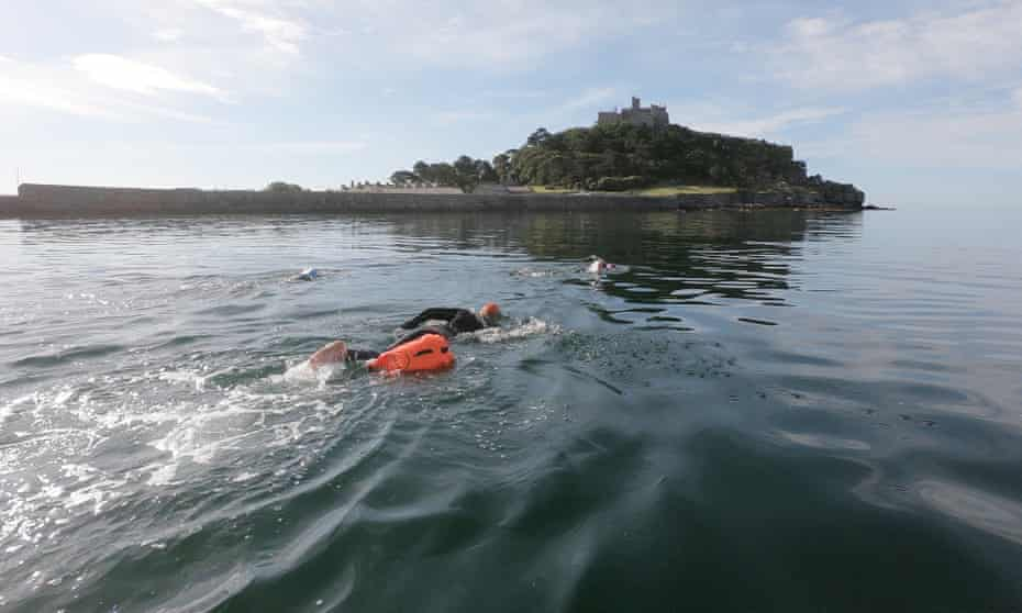Swimming to St Michael's Mount