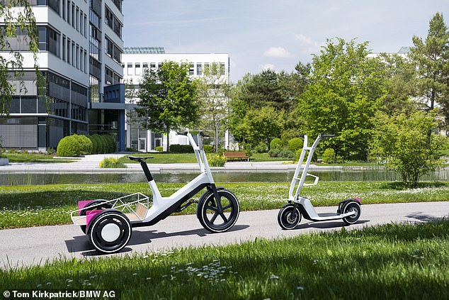 Like the scooter, the e-bike has an electric range of 12 miles and a battery that can be removed so the user can charge the batteries in their home or office
