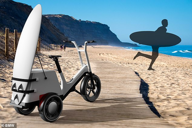 A number of modular rear section elements can be chosen, from a child seat to a surf-board carrier