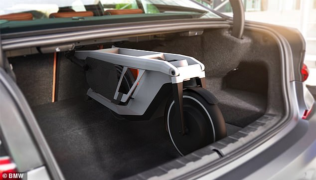 The German brand says the e-scooter is designed for 'last mile' journeys. It can be folded to fit into the boot of a saloon car, then when the driver reaches the outskirts of the city they can used the electric vehicle to reach their workplace