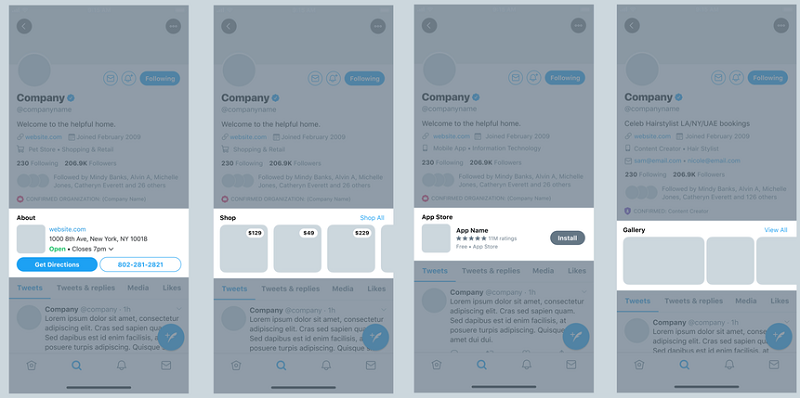 Twitter Business Profile elements