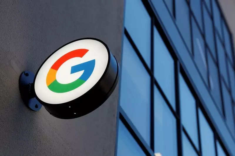 FILE PHOTO: A sign is seen at the entrance to the Google retail store in the Chelsea neighborhood of New York City