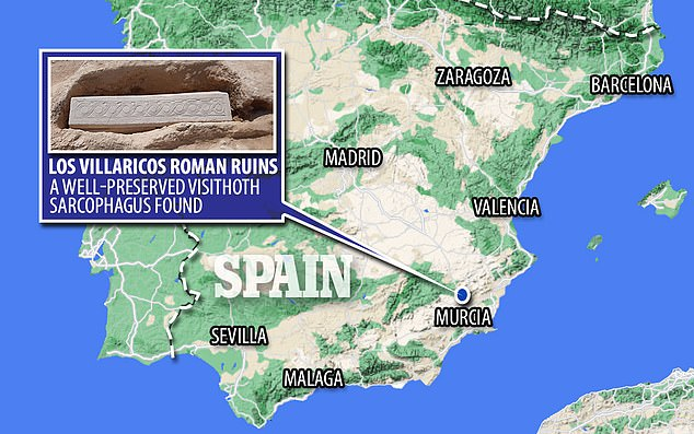 The sarcophagus was found at Los Villaricos, a Roman villa established around the first century near the modern town of Mula in the region of Murica