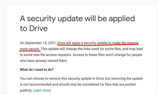 Google Drive security update email notice