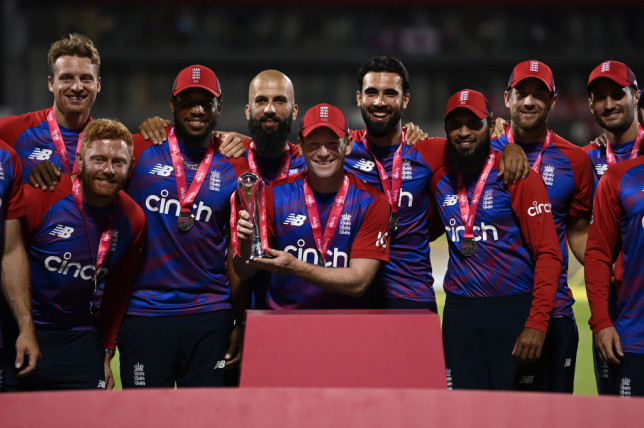 Eoin Morgan celebrates after England's T20 victory over Pakistan