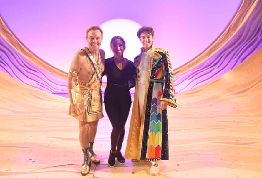 Jason Donovan (left), Alexandra Burke and Jac Yarrow backstage after the press night performance of Joseph and the Amazing Technicolor Dreamcoat on 28 July 2021 at the London Palladium