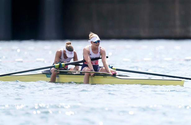 Great Britain's Helen Glover and Polly Swann react after finishing fourth