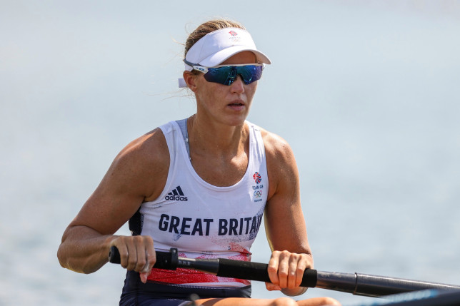TOKYO, JAPAN - JULY 24: Helen Glover of Team Great Britain competes during the Women's Pair Heat 2 on day one of the Tokyo 2020 Olympic Games at Sea Forest Waterway on July 24, 2021 in Tokyo, Japan. (Photo by Naomi Baker/Getty Images)