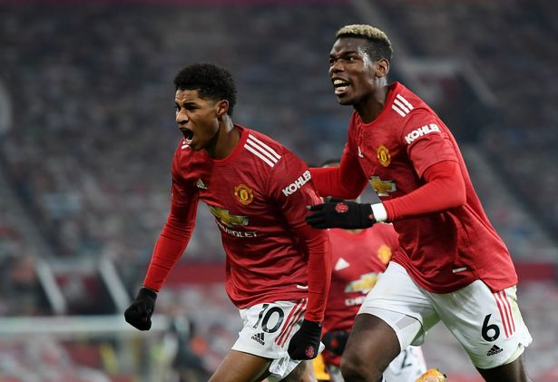 Paul Pogba and Marcus Rashford in action for Manchester United