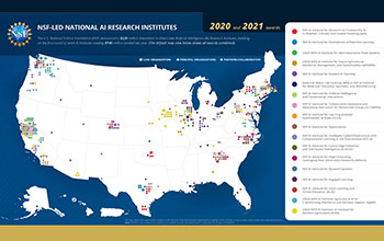NSF-LED National AI Research Institute map shows all awards combined