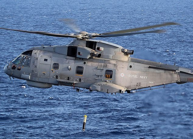Swoop: Ultra's 'sonobuoys' can be dropped from Merlin helicopters (pictured) and Poseidon planes to help detect objects in the ocean