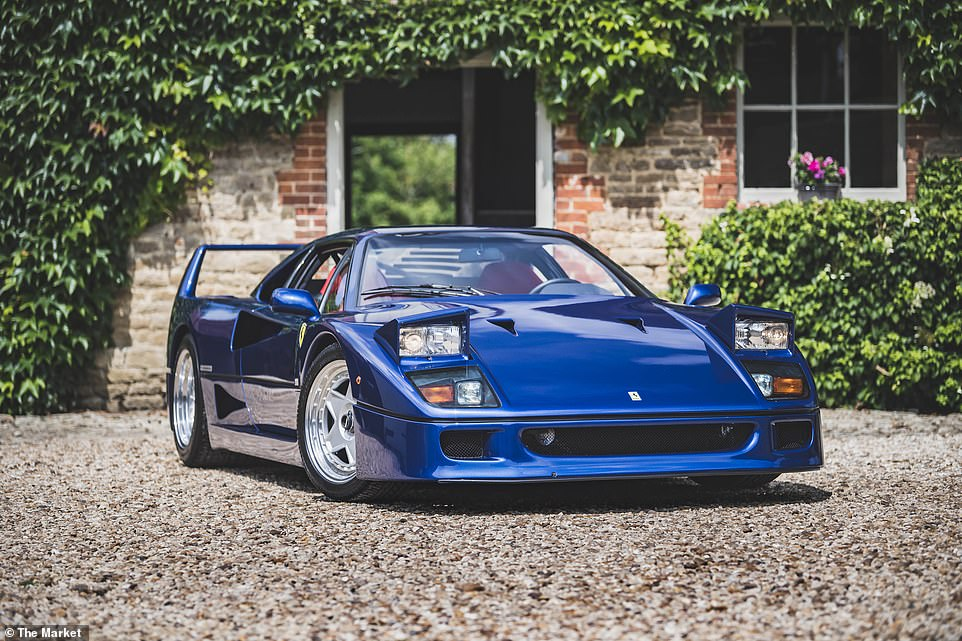 The record-breaking blue stallion: This 1989 Ferrari F40 sold for over £1million earlier this month. It because the first car sold by a specialist online collectible auction platform to exceed a seven-figure sum