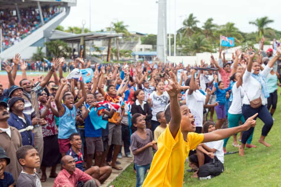 The celebrations begin at the ANZ stadium in Suva after the men's sevens side secured Fiji's first gold