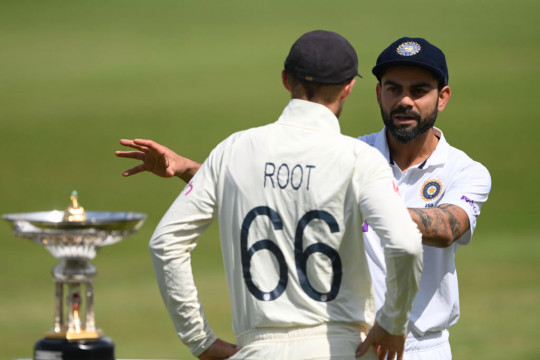 Joe Root chats with Virat Kohli ahead of England's Test match with India