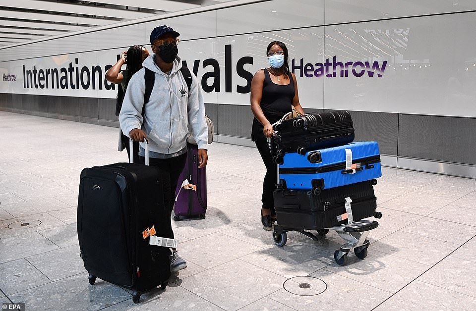 The push to create an amber watch list has been prompted by concern among health officials about the rise of the Beta variant in countries such as Spain. Heathrow Airport is pictured on July 31