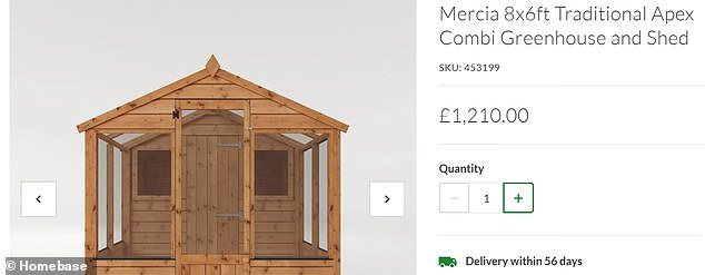 This shed sold by Homebase cost £695 in 2019, but it's now selling for £1,210