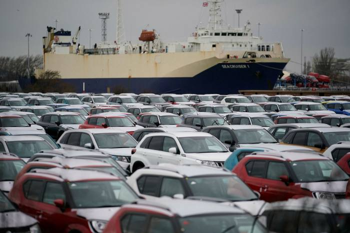Suzuki cars are stored at Grimsby Docks in March 2019