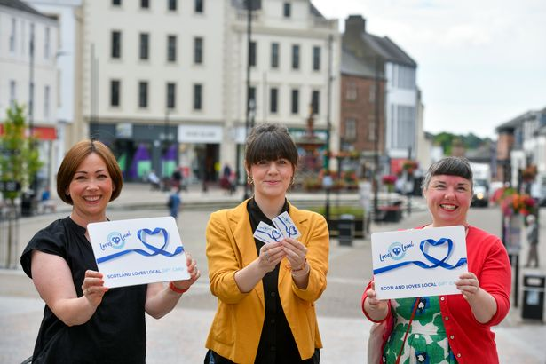 L-R: Directors of The Guild Dumfries, Kirsten Scott, Natalie Farrell and Leah Halliday, promoting the new Scotland Loves Local gift card in Dumfries town centre