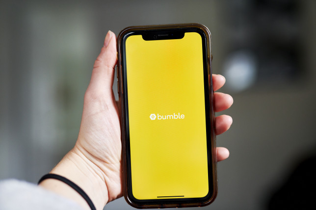 A smartphone showing the dating app Bumble