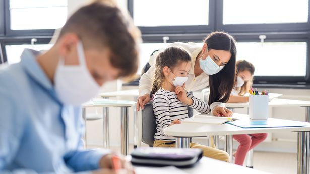 Group of children with face mask back at school