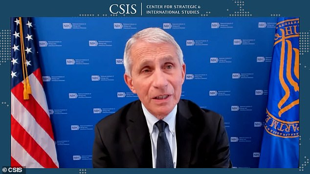 Dr Anthony Fauci said on Tuesday (above) that the U.S is currently on a trajectory in its recent surge of COVID-19 cases that is 'strikingly similar' to the outbreak seen in the UK