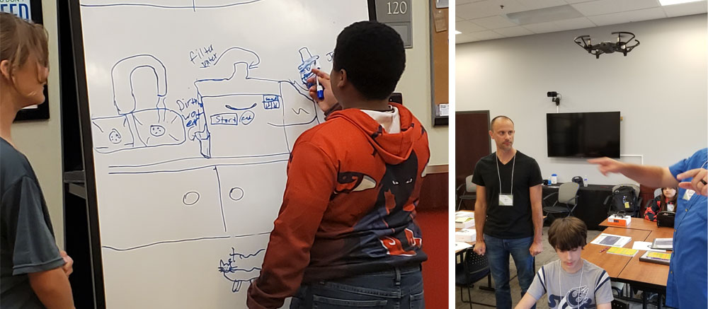 Left: Students designing their business prototype. Right: Students learned how to program a drone's flight.