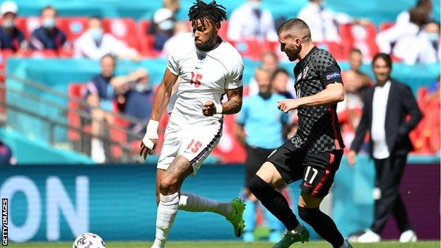 Tyrone Mings playing for England against Croatia at Euro 2020