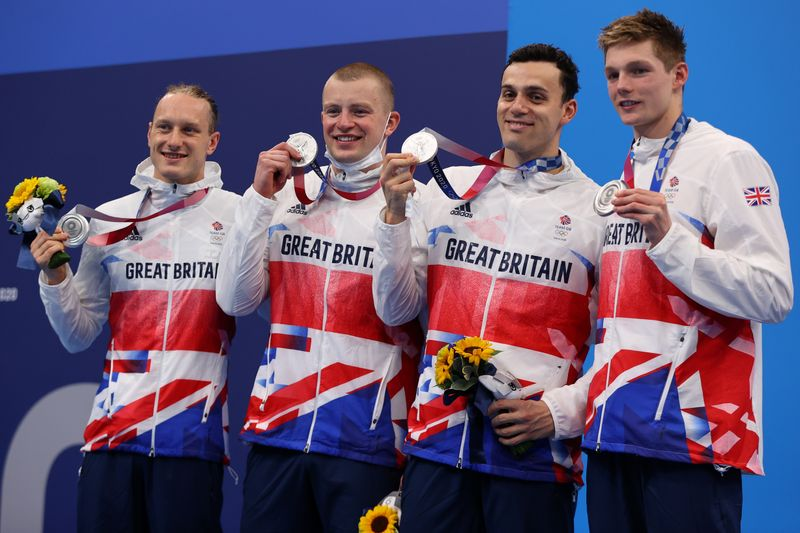Olympics-Swimming-Relay silver completes Britain's best ever Games in the pool