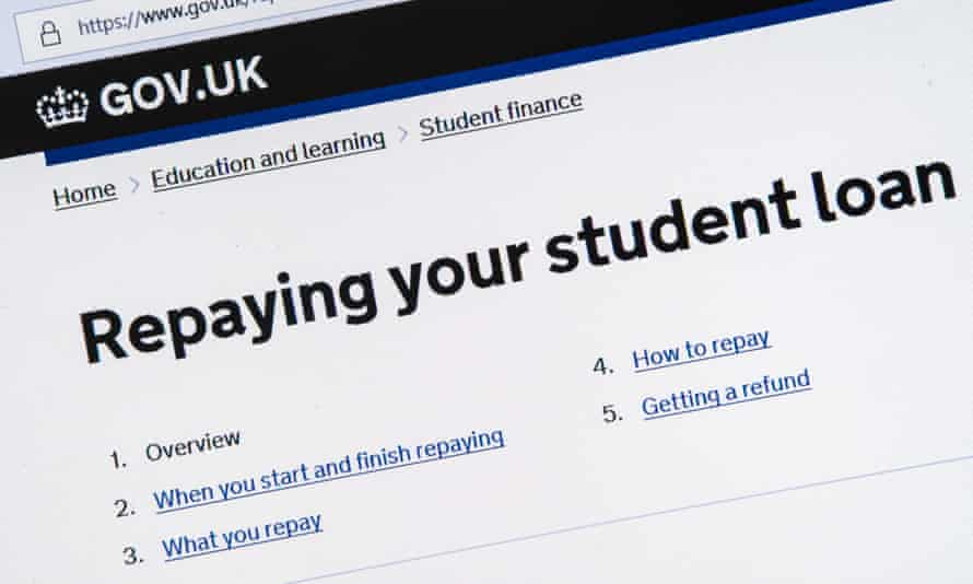 Computer screenshot of information about repaying your student loan on gov.uk website