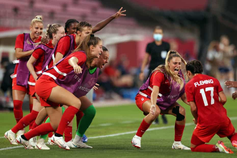 Canada celebrate their goal against the United States