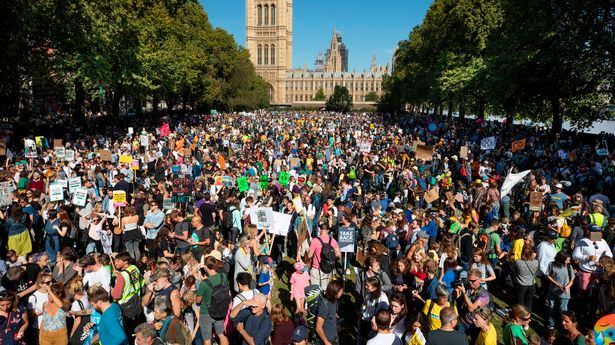 Massive crowds of protesters descend on the Palace of Westminster in London