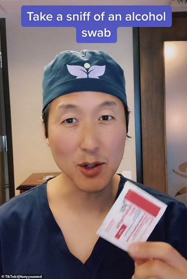 In this video, the surgeon suggested sniffing an alcohol wipe to help alleviate nausea - saying that doctors and nurses do this all the time