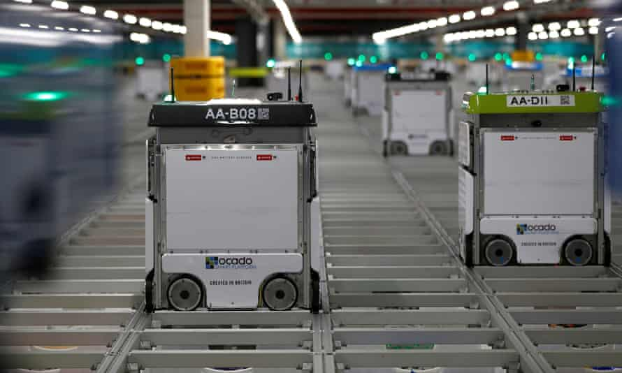 The movements of Ocado's robot order pickers are controlled by algorithms.