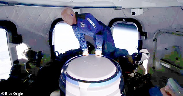 Bezos (pictured), Blue Origin founder, made a similar journey 10 days later, when he, his brother Mark and two others ventured 66 mile above Earth.