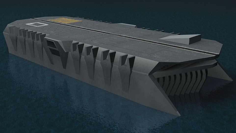Autonomous underwater vehicles (AUV) and maintenance parts could also be 3D-printed on board the sleek Carrier vessel (pictured)