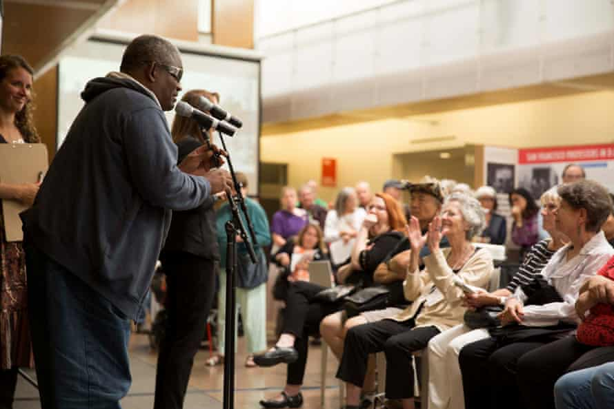 Speaking at the launch of Patient No More, a disability history exhibition at the University of California, Berkeley, in 2015.