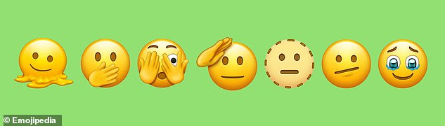 From left: Melting Face, Face with Open Eyes and Hand Over Mouth, Face with Peeking Eye, Saluting Face, Dotted Line Face, Face with Diagonal Mouth and Face Holding Back Tears. All are among the emojis approved in September 2021