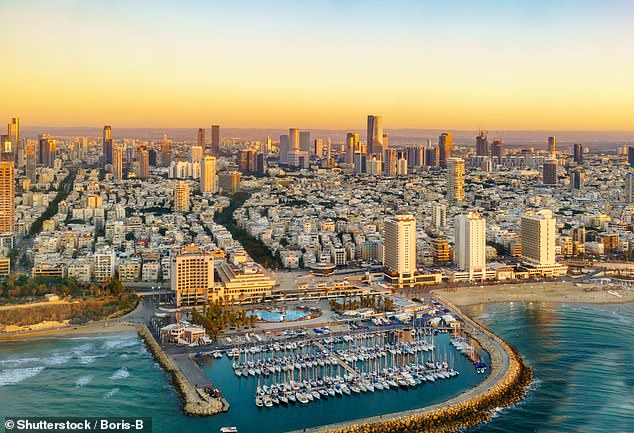 The average house price in Israel has increased an incredible 345.7 per cent with a square metre costing £6,920 in 2020, up from £1,553 a decade earlier. Pictured, Tel Aviv