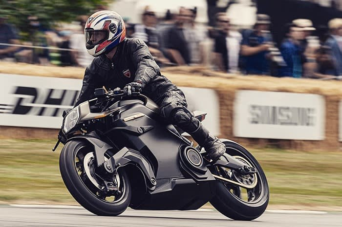The author rides an Arc Vector at the Goodwood Festival of Speed in 2019