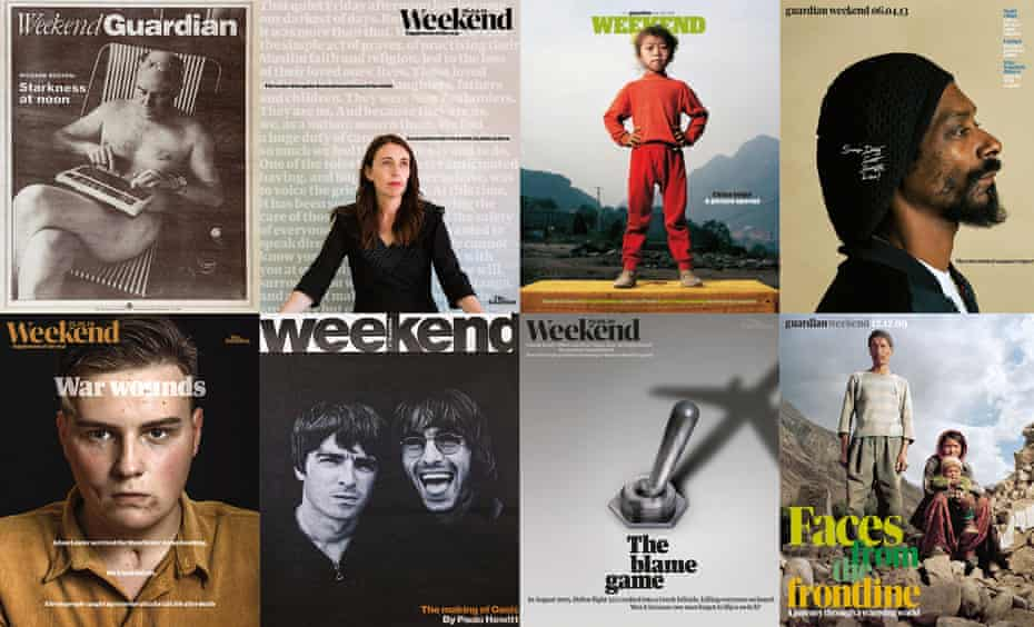 Composite of Guardian Weekend magazine covers. From top left: Richard Boston on Weekend's first cover, 1998; Jacinda Ardern, 2019; Mathias Braschler and Monika Fischer's take on China, 2008 (top, second right), terror attack survivors, 2019 (bottom left) and the climate crisis, 2009 (bottom right; Snoop Dogg, 2013; Jill Furmanovsky's portrait of Oasis, 1997; switch/plane, 2020.