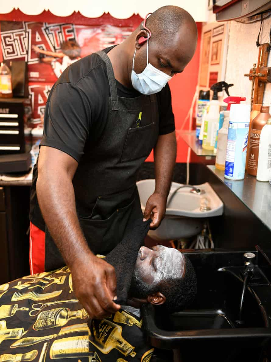 Kadejus Williams gets a facial and beard treatment before getting a haircut at Daddy's Choice.