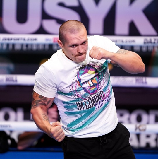 Oleksandr Usyk works out ahead of Anthony Joshua title fight