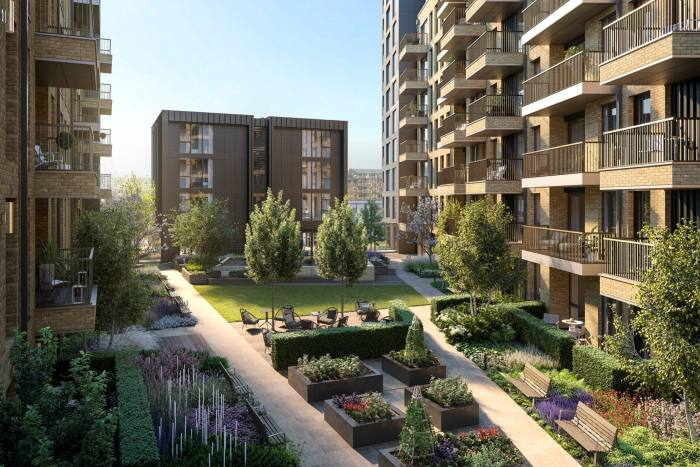 The gardens at Riverstone Fulham, an over-65s scheme of 162 flats