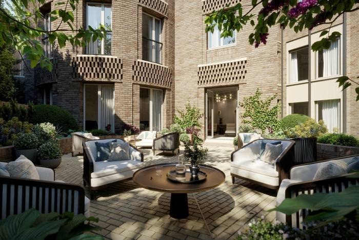 The courtyard at Fitzjohn in Hampstead, which has 29 apartments for retirees, with prices starting at £2m