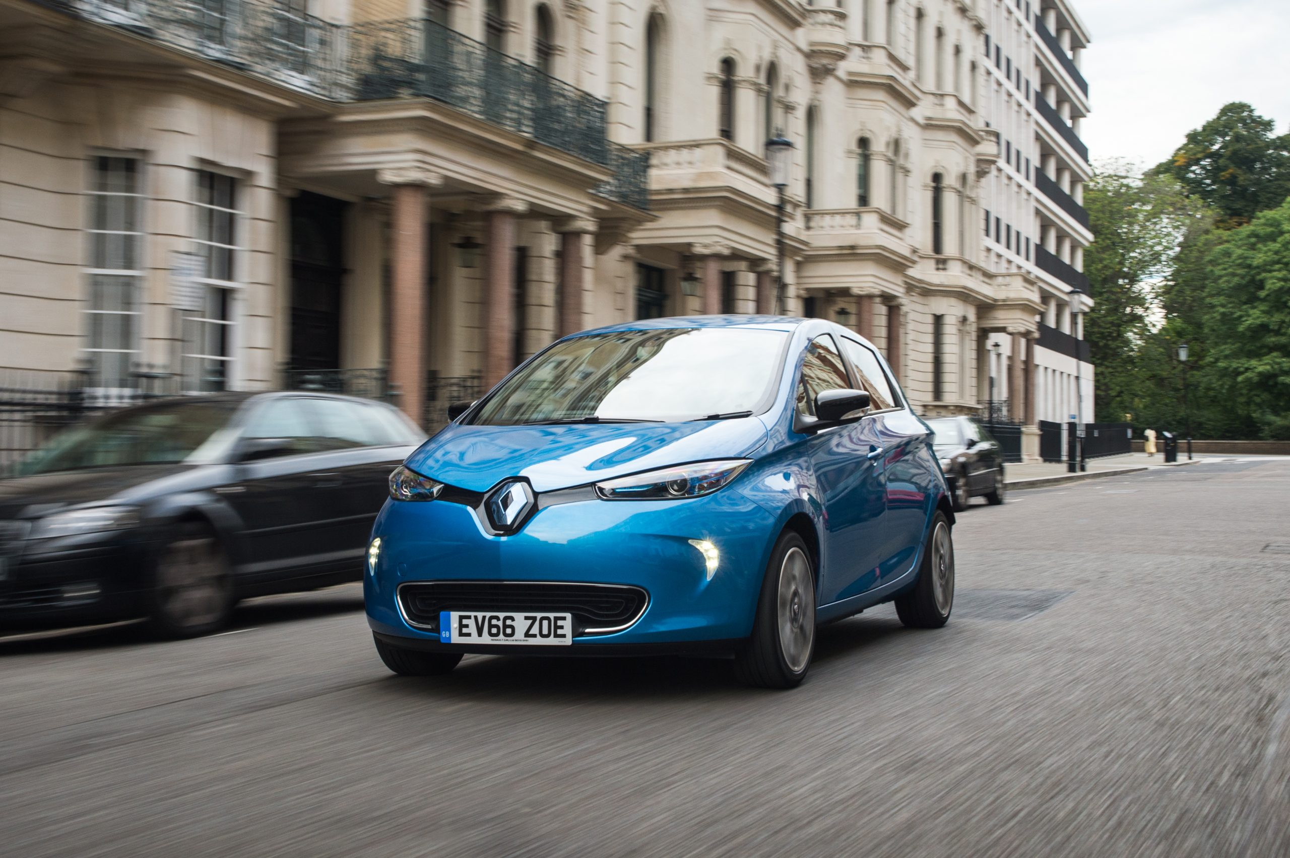 A Renault Zoe on the road