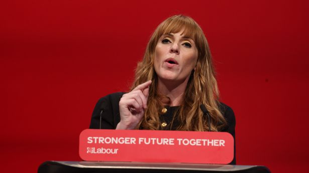 Angela Rayner during her conference speech earlier in the day