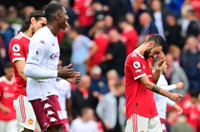 Bruno Fernandes looks on after Manchester United's Premier League clash with Aston Villa